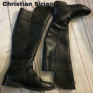 Christian Siriano Size 8.5 high black zip boots